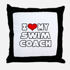 """I Love My Swim Coach"" Throw Pillow"