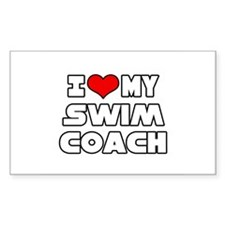 """I Love My Swim Coach"" Rectangle Decal"