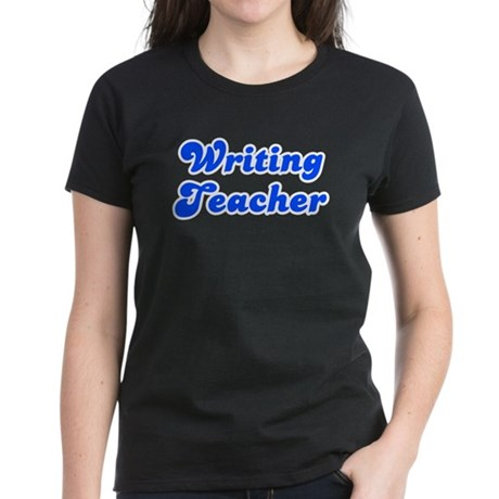 Retro Writing Tea.. (Blue) Women's Dark T-Shirt