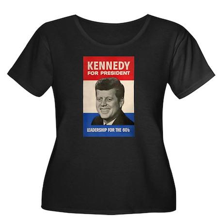 JFK '60 Women's Plus Size Scoop Neck Dark T-Shirt
