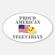 Proud American Vegetarian Oval Decal