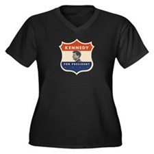 JFK '60 Shield Women's Plus Size V-Neck Dark T-Shi