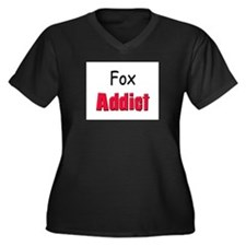 Fox Addict Women's Plus Size V-Neck Dark T-Shirt