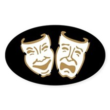 Drama Masks Oval Sticker (10 pk)