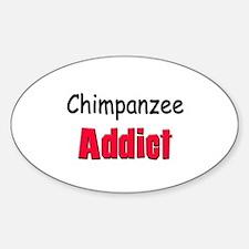 Chimpanzee Addict Oval Decal