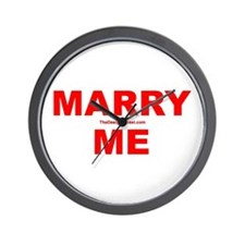 Red Marry Me Wall Clock