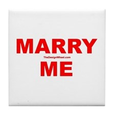 Red Marry Me Tile Coaster