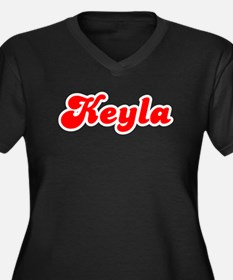Retro Keyla (Red) Women's Plus Size V-Neck Dark T-