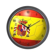 Spain Flag Soccer Ball Wall Clock