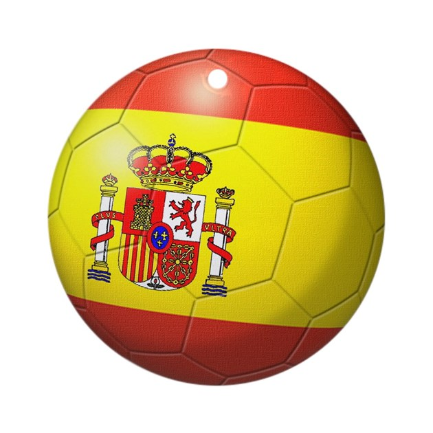 Spain Flag Soccer Ball Ornament Round By Coolcups