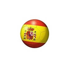 Spain Flag Soccer Ball Mini Button