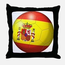 Spain Flag Soccer Ball Throw Pillow