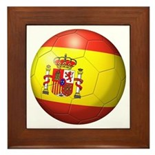 Spain Flag Soccer Ball Framed Tile