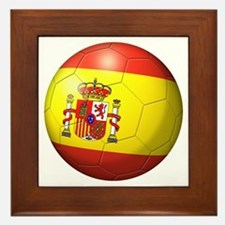 Spain Flag Soccer Ball Framed Tile