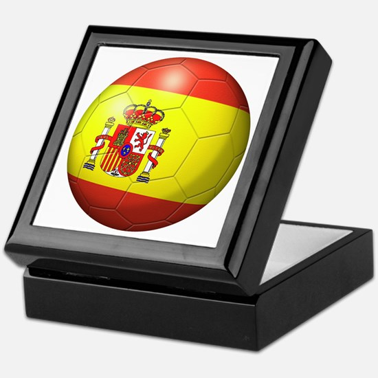 Spain Flag Soccer Ball Keepsake Box