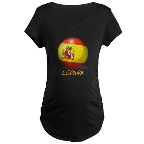 Espana Flag Soccer Ball Maternity Dark T-Shirt