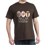 Peace Love Allergy Immunology Doctor Brown T Shirt