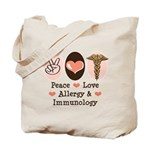 Peace Love Allergy Immunology Doctor Tote Bag