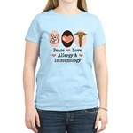 Peace Love Allergy Immunology Doctor Pink T shirt