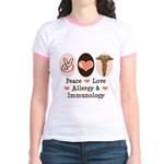 Peace Love Allergy Immunology Doctor Ringer Tshirt