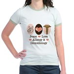 Peace Love Allergy Immunology Doctor Ringer Tee