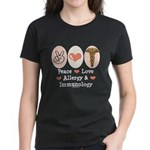 Peace Love Allergy Immunology Doctor Women's Dark