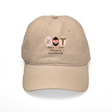 Peace Love Allergy Immunology Doctor Baseball Cap