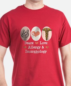 Peace Love Allergy Immunology Doctor T-Shirt