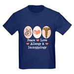 Peace Love Allergy Immunology Kids Dark T-Shirt