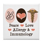Peace Love Allergy Immunology Doctor Tile Coaster
