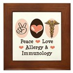 Peace Love Allergy Immunology Doctor Framed Tile