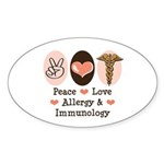 Peace Love Allergy Immunology Oval Sticker (10 pk)