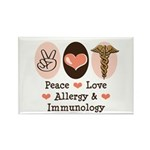 Peace Love Allergy Immunology Rectangle Magnet