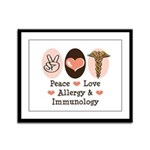 Peace Love Allergy Immunology Framed Panel Print