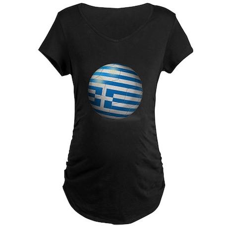 Greece Flag Soccer Ball Maternity Dark T-Shirt
