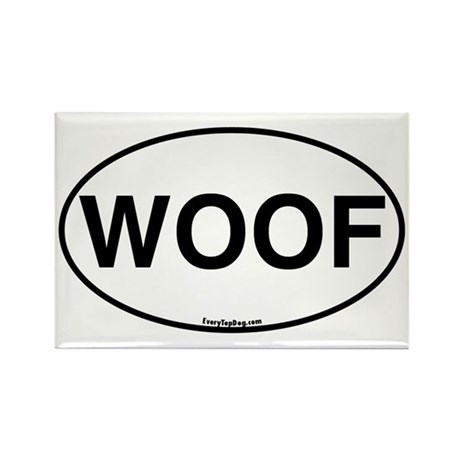 Euro Oval WOOF Rectangle Magnet