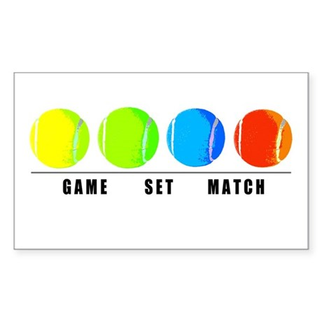 GAME SET MATCH Rectangle Stickers by tennisduck