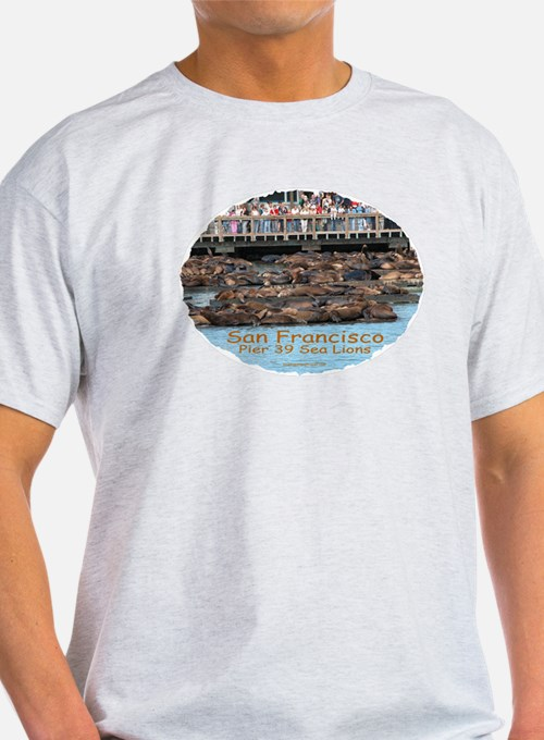 SF Pier 39 Sea Lions - Ash Grey T-Shirt