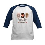 Peace Love Colorectal Surgery Kids Baseball Jersey