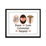 Peace Love Colorectal Surgery Framed Panel Print