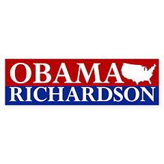 Obama-Richardson USA Map Bumper Sticker