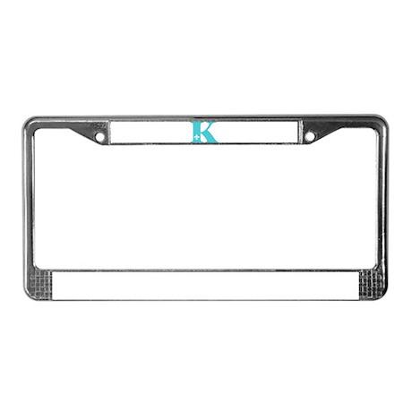 K Fleur Initial License Plate Frame