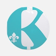 K Fleur Initial Ornament (Round)