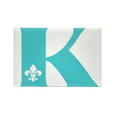 K Fleur Initial Rectangle Magnet
