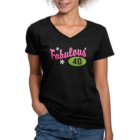 Fabulous 40 Women's V-Neck Dark T-Shirt