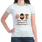 Peace Love OB/GYN Doctor Jr. Ringer T-Shirt