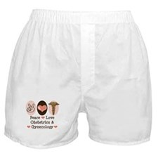 Peace Love OB/GYN Doctor Boxer Shorts