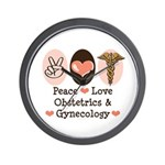 Peace Love OB/GYN Doctor Wall Clock