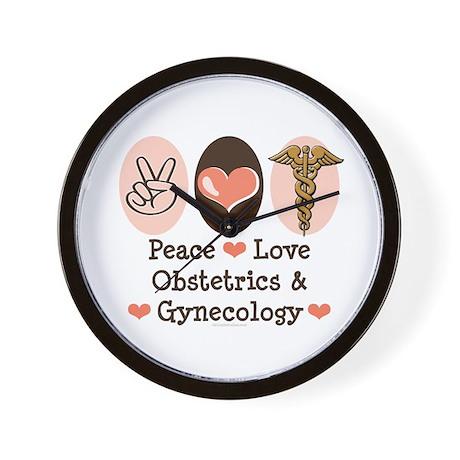 Peace Love OB/GYN Doctor Wall Clock