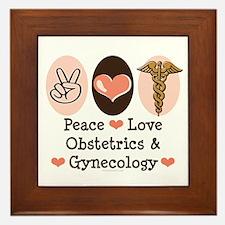 Peace Love OB/GYN Doctor Framed Tile